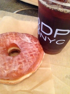 Vanilla bean doughnut and a cold brew at Doughnut Plant