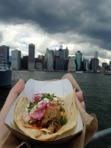 Tacos and the Manhattan skyline