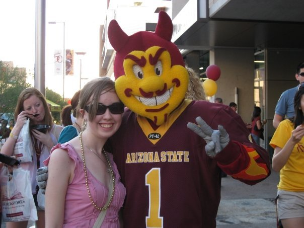 Me with ASU's mascot Sparky when I was just starting journalism school
