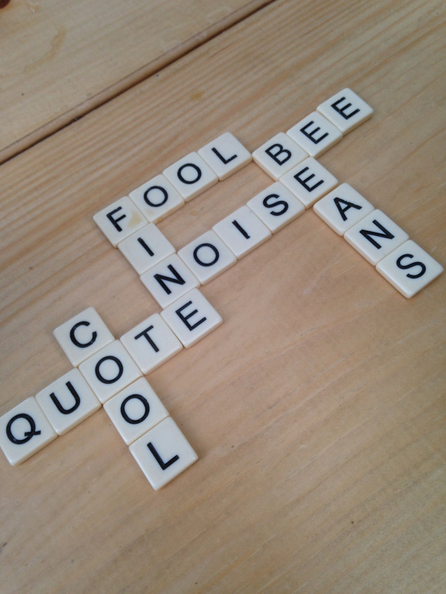 We found a bar with board games, and I won my first-ever round of Bananagrams!