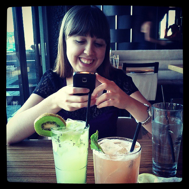 Instagram-ing at a restaurant in 2013. But look how pretty those drinks are!