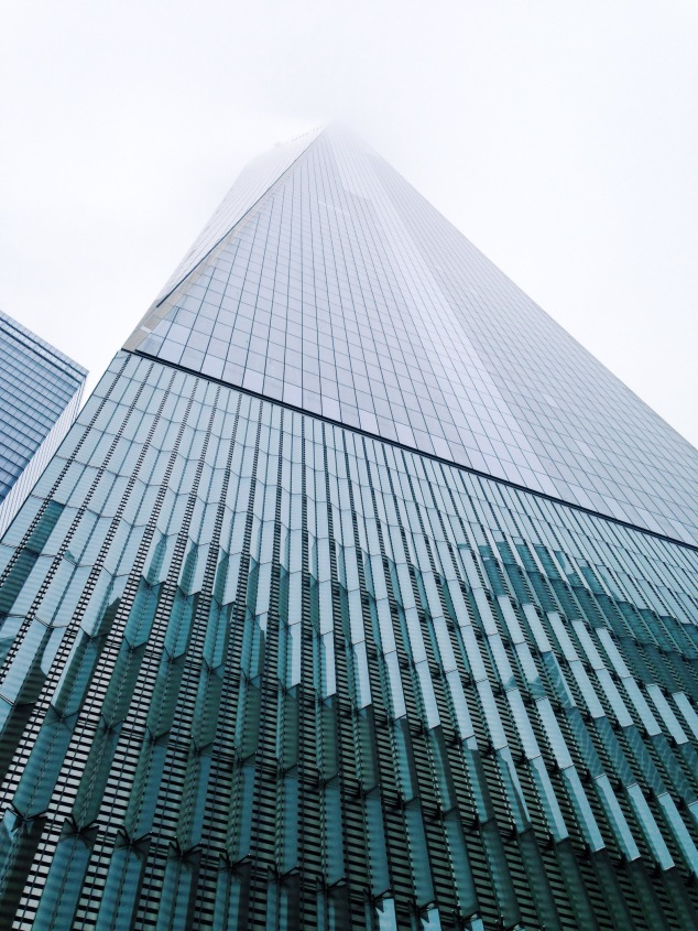 One World Trade Center on a foggy day