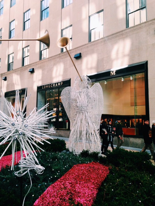 Angel decorations at Rockefeller Plaza