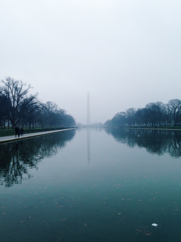 The Washington Monument on a foggy day, Washington DC
