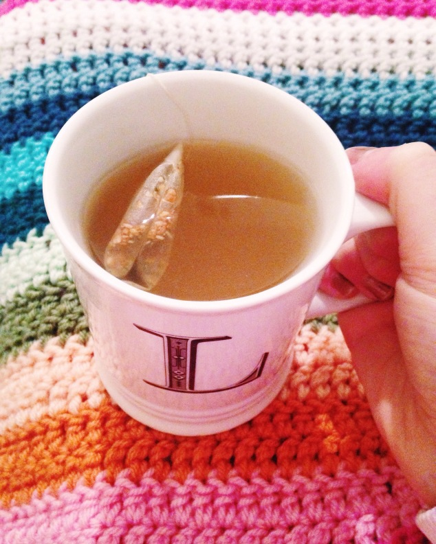 Sipping ginger tea on a cold winter day