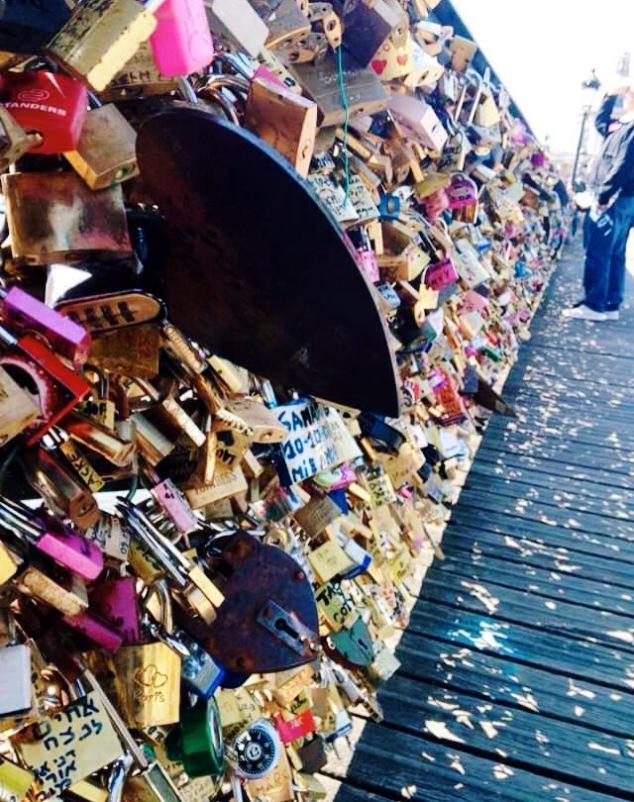 Love locks on the Pont de Arts bridge, paris