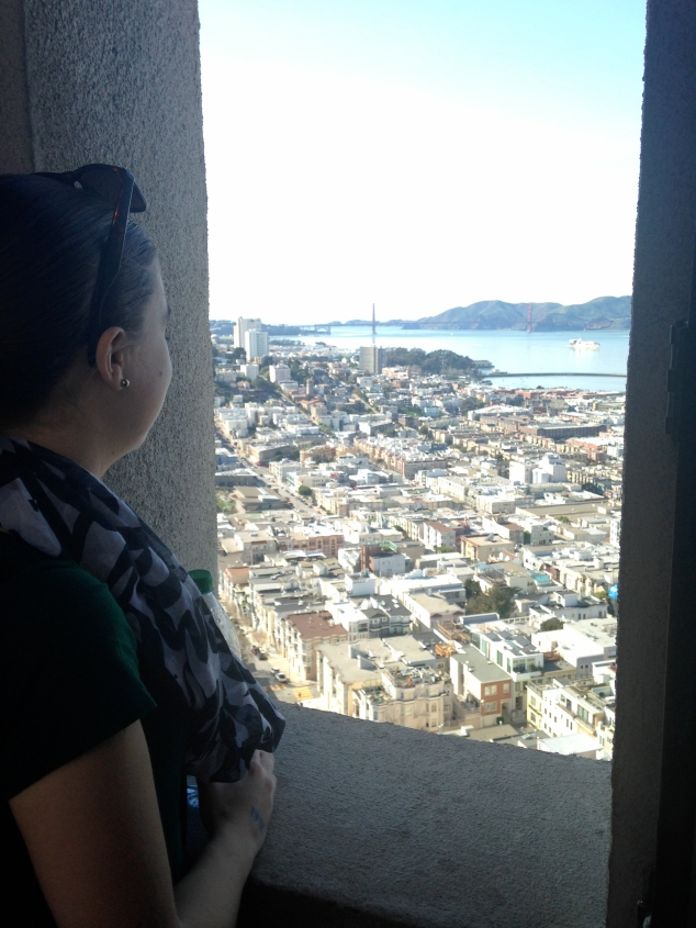 Looking at the Golden Gate Bridge from the Coit Tower, San Francisco