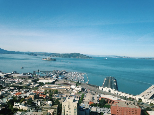 View of Alcatraz from Coit Tower, San Francisco