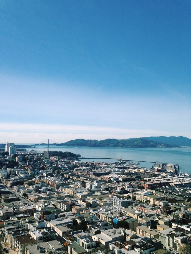 View of the Golden Gate Bridge from Coit Tower, San Francisco