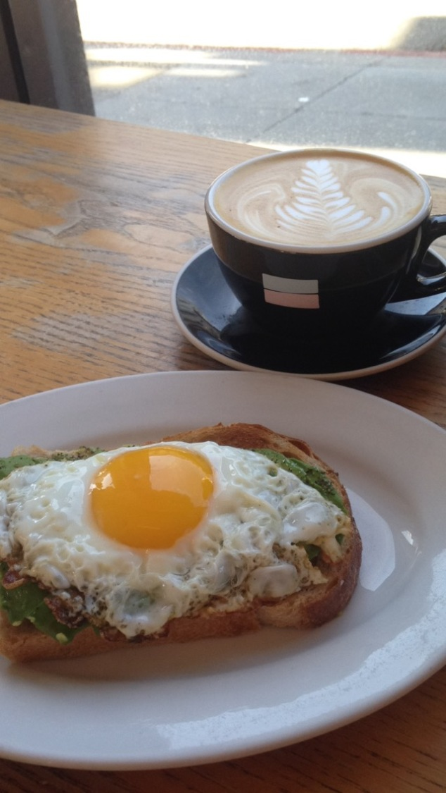 Avocado toast and latte at Reveille Coffee Co. in San Francisco