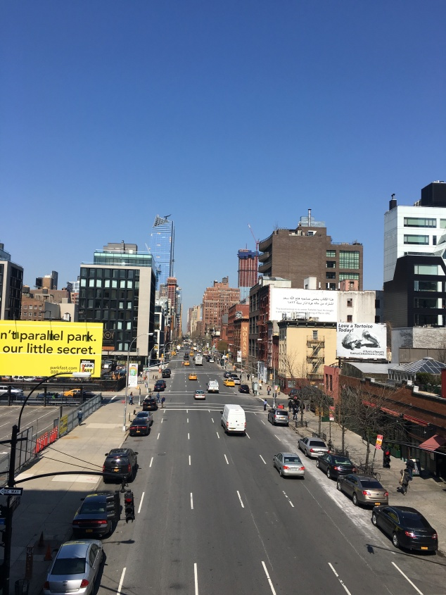 View of the street from the High Line, New York City