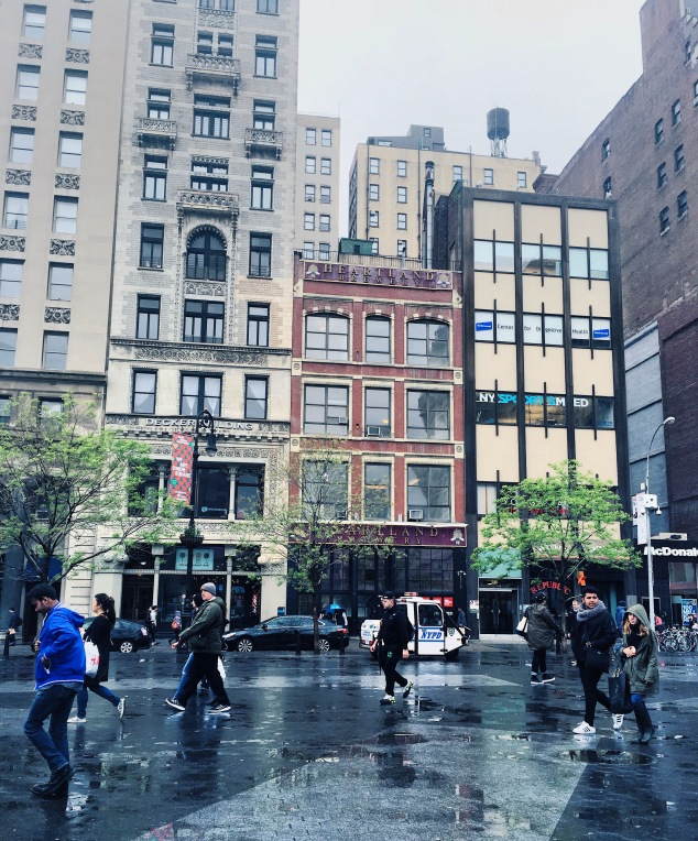 Rainy day in Union Square, New York City