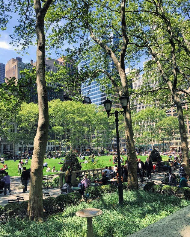 Sun shining, open lawn at Bryant Park