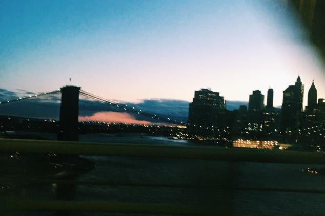 Sunset over lower Manhattan and the Brooklyn Bridge