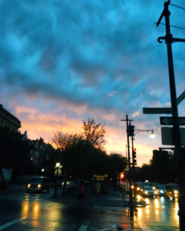 Rainy sunset in Crown Heights, Brooklyn