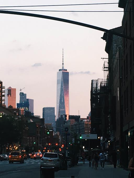 World Trade Center, New York City, at sunset